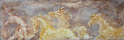 Encaustic Horse Painting - Misty Run by Gabrielle England