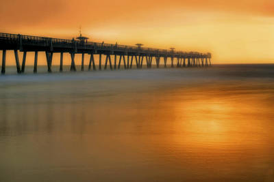 Photograph - Misty Seas At Jacksonville Beach Pier - Florida - Landscape - Seascape by Jason Politte