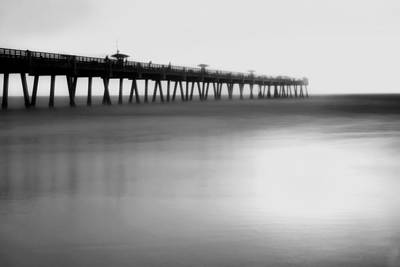 Photograph - Misty Seas At Jacksonville Beach Pier - Florida - Seascape - Black And White by Jason Politte