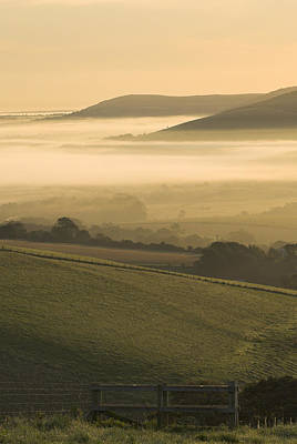 Misty South Downs Art Print by Hazy Apple