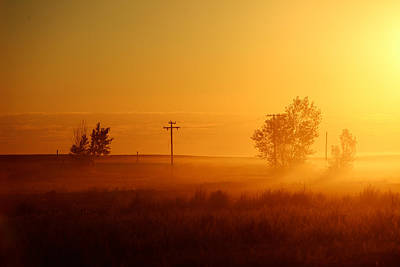 Telephone Poles Photograph - Misty Sunny Morning by Todd Klassy