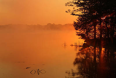 Locust Sunset Photograph - Misty Sunrise At Locust Lake State Park by Delmas Lehman