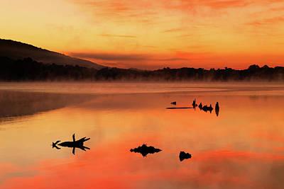 Locust Sunset Photograph - Misty Sunrise At The Lake by Delmas Lehman