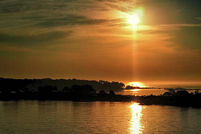 Photograph - Misty Sunrise Over Portland Harbor by Bill Swartwout