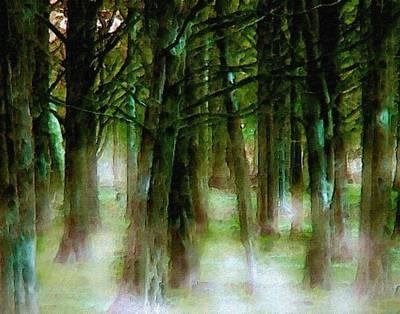 Green Color Painting - Misty Swamp by Karen Conine