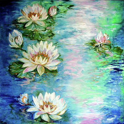 Painting - Misty Waters Waterlily Pond by Marcia Baldwin