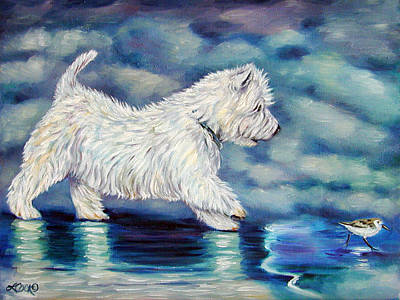 Dog Beach Painting - Misty - West Highland Terrier by Lyn Cook