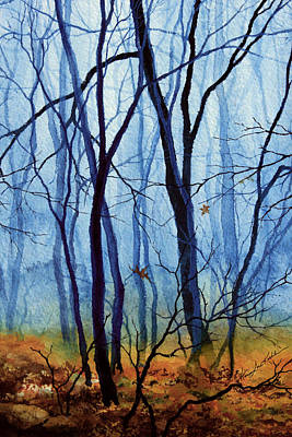 Autumn Landscape By Hanne Lore Koehler Painting - Misty Woods - 2 by Hanne Lore Koehler