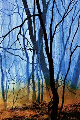 Autumn Landscape By Hanne Lore Koehler Painting - Misty Woods - 3 by Hanne Lore Koehler