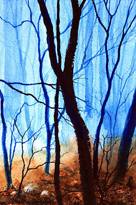 Autumn Landscape By Hanne Lore Koehler Painting - Misty Woods - 4 by Hanne Lore Koehler