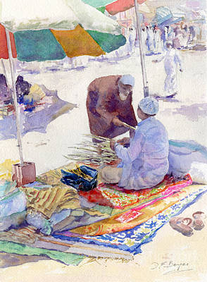 Souq Painting - Miswak Seller Jeddah by Dorothy Boyer