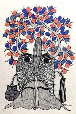 Gond Art Painting - Mit 02 by Mithlesh Shyam