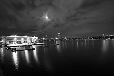 Photograph - Mit Sailing Pavilion Boston Ma Charles River At Night Black And White by Toby McGuire