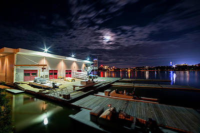 Photograph - Mit Sailing Pavilion Boston Ma Charles River At Night Full Moon by Toby McGuire