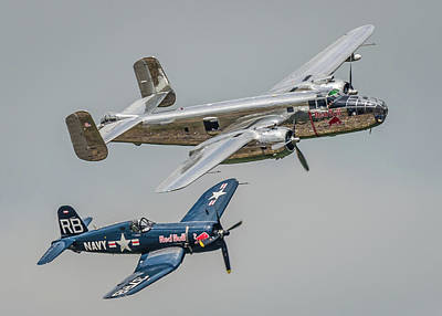 North American B-25j Mitchell Photograph - Mitchell And Corsair Pair by Gareth Burge Photography