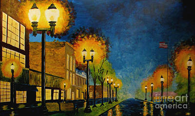 Gaslight Painting - Mitchell Street Petoskey by Martina Hahn