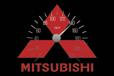 Digital Art - Mitsubishi Car Logo by Carlos Diaz