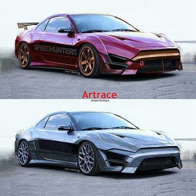 Asphalt Digital Art - Mitsubishi Eclipse Custom. by Artem Sinitsyn