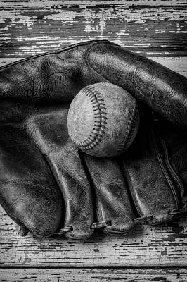 Photograph - Mitt With Old Baseball by Garry Gay