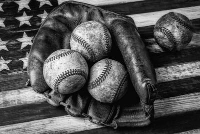 Mitt With Three Balls Black And White Art Print by Garry Gay