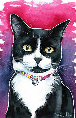 Painting - Mittens - Tuxedo Cat Portrait by Dora Hathazi Mendes