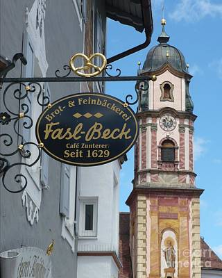 Photograph - Mittenwald Cafe Sign by Carol Groenen