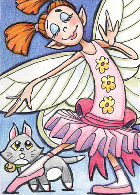 Faeries Drawing - Mitzie And Cookie by Amy S Turner