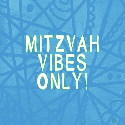 Bat Digital Art - Mitzvah Vibes Only Blue Print- Art By Linda Woods by Linda Woods