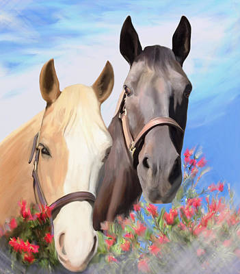 Painting - Miwok Horses by Julianne  Ososke