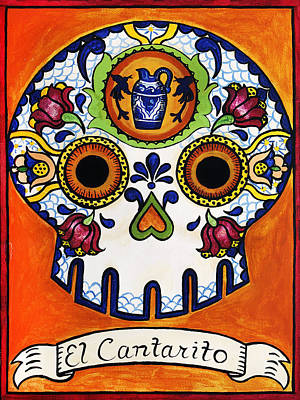 Calavera Painting - El Cantarito - The Little Jug by Mix Luera