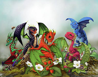 Strawberries Digital Art - Mixed Berries Dragons by Stanley Morrison