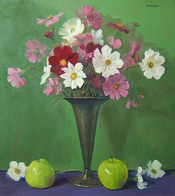 Painting - Mixed Cosmos In Silver Trumpet Vase With Apples by Robert Holden