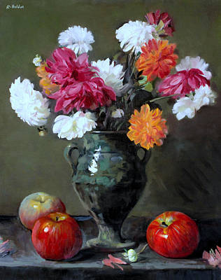 Painting - Mixed Dahlias In Green Moroccan Footed Vase And Apples by Robert Holden