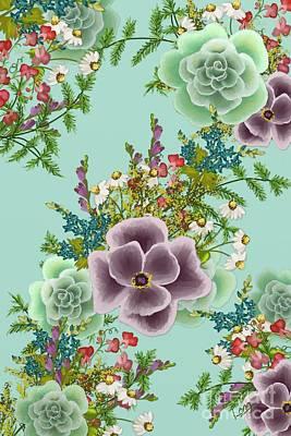Mixed Floral On Light Blue Art Print