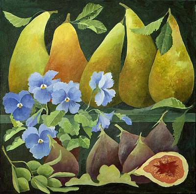 Pear Painting - Mixed Fruit by Jennifer Abbot