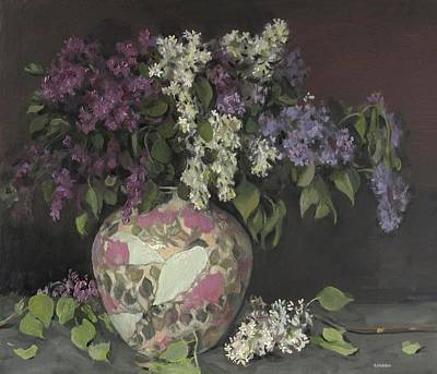 Painting - Mixed Lilacs In Floral Vase by Robert Holden