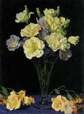 Painting - Mixed Lisianthus In Glass Trumpet Vase Against Dark Background by Robert Holden