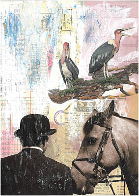 Stork Mixed Media - mixed media collage art- In Honor of the Horse by Dragana Lazovic