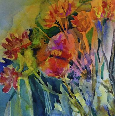 Mixed Media Flowers Art Print by Donna Acheson-Juillet