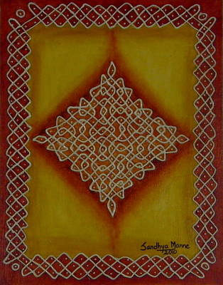 Mixed Media Kolam Four Print by Sandhya Manne