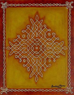 Mixed Media Kolam One Art Print by Sandhya Manne