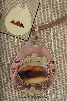 Mixed Metal Copper Brass Agate Pendant Necklace Original