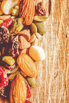 Mixed Nuts On Wooden Background Art Print by Jorgo Photography - Wall Art Gallery