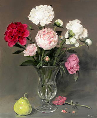 Painting - Mixed Peonies In Footed Glass Vase by Robert Holden