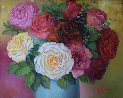 Painting - Mixed Roses In Turquoise Vase by Cheri Wollenberg