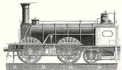Nineteenth Century Drawing - Mixed Traffic Locomotive by English School