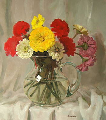 Painting - Zinnias In Glass Pitcher by Robert Holden