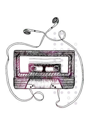 Tape Drawing - Mixtape by Barlena