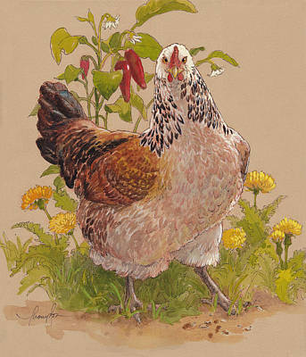 Chickens Mixed Media - Miz Beulah by Tracie Thompson