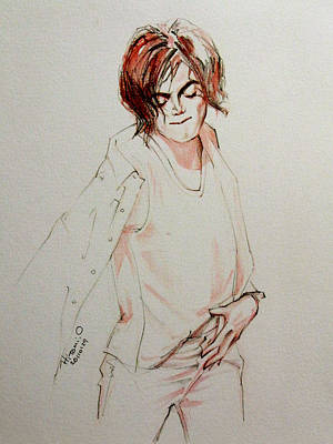 Michael Jackson Drawing - Mj In My Room by Hitomi Osanai